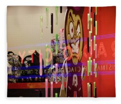 Fleece Blanket featuring the photograph Radio City Reflection by Steve Stanger