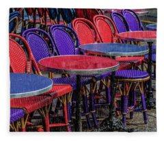 Rain On Paris Tables Fleece Blanket