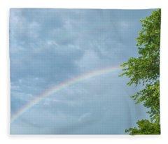 Rainbow And A Tree Fleece Blanket