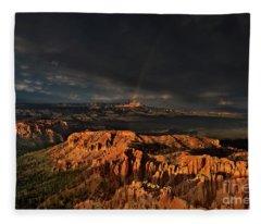 Rainbow And Thunderstorm Over The Paunsaugunt Plateau  Fleece Blanket