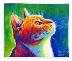 Rainbow Cat Portrait Fleece Blanket