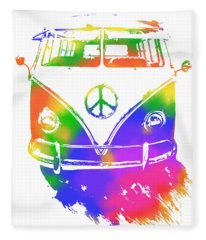 Rainbow Colored Peace Bus Fleece Blanket