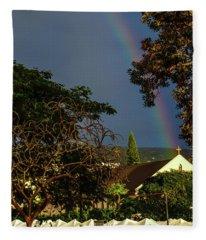 Rainbow Ended At The Church Fleece Blanket