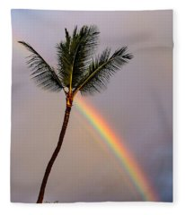 Rainbow Just Before Sunset Fleece Blanket