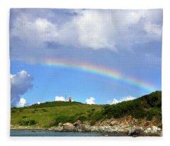 Rainbow Over Buck Island Lighthouse Fleece Blanket