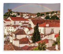 Rainbow Over Castle Fleece Blanket
