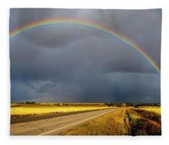 Rainbow Over Crop Land Fleece Blanket
