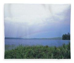 Rainbow Over Raquette Lake Fleece Blanket