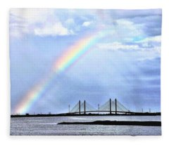 Rainbow Over The Indian River Inlet Bridge Fleece Blanket