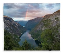 Rainbow Over The Naerofjord, Norway Fleece Blanket