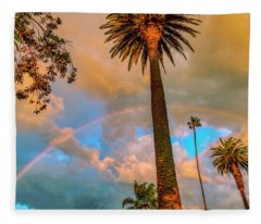Rainbow Over The Palms Fleece Blanket