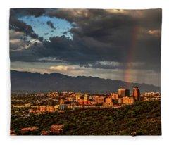 Rainbow Over Tucson Fleece Blanket