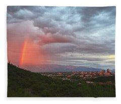 Rainbow Over Tucson Skyline Fleece Blanket