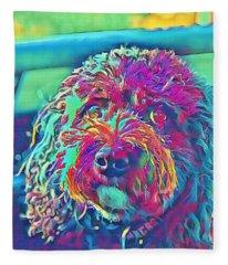 Rainbow Pup Fleece Blanket