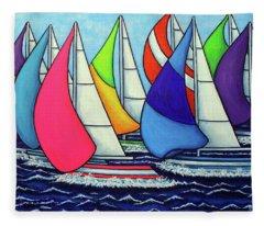 Rainbow Racing Regatta Fleece Blanket