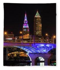 Rainbow Tower In Cleveland Fleece Blanket