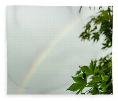 Rainbow With Leaves In Foreground Fleece Blanket