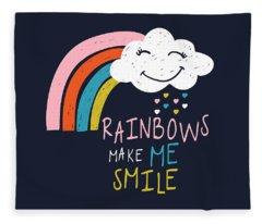 Rainbows Make Me Smile - Baby Room Nursery Art Poster Print Fleece Blanket