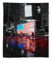 Rainy Days In Time Square  Fleece Blanket