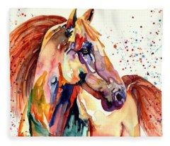 Rainy Horse Fleece Blanket