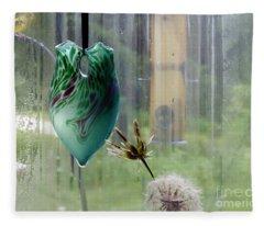 Rainy Morning At The Bird Feeder Fleece Blanket