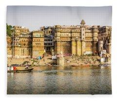 Rana Mahal Ghat Varanasi Fleece Blanket