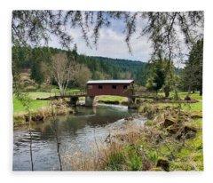 Ranch Hills Covered Bridge Fleece Blanket