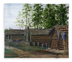 Rebel Huts, Port Hudson, Louisiana 1863 Fleece Blanket