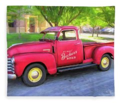 Red 1950 Chevy 3100 Pickup Fleece Blanket