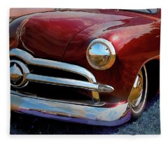 Red 1950 Ford Traditional Custom Fleece Blanket