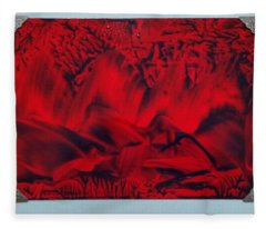 Red And Black Encaustic Abstract Fleece Blanket