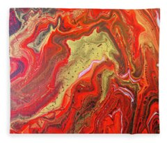 Red And Gold Fleece Blanket