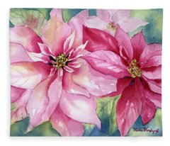 Red And Pink Poinsettias Fleece Blanket