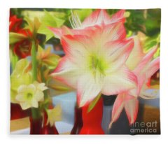 Red And White Amaryllis Fleece Blanket