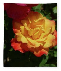 Red And Yellow Rio Samba Roses Fleece Blanket