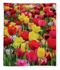 Red And Yellow Tulips Fleece Blanket