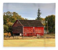 Red Barn Fall Fleece Blanket