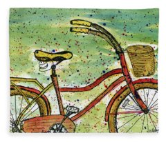 Red Bicycle Yellow Seat Fleece Blanket