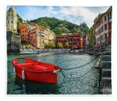 Red Boat Vernazza Cinque Terre  Fleece Blanket