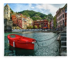 Red Boat Vernazza Cinque Terre  Fleece Blanket