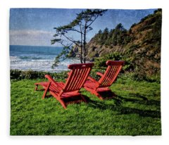 Red Chairs At Agate Beach Fleece Blanket