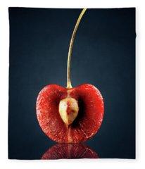 Red Cherry Still Life Fleece Blanket