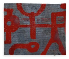 Red Drawing Fleece Blanket