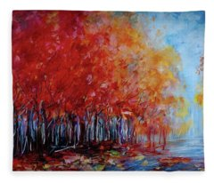 Red Fall Forest By Olena Art  Fleece Blanket