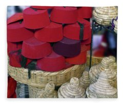 Red Fez Tarbouche And White Wicker Tagine Cookers Fleece Blanket