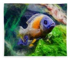 Red Fin Borleyi Cichlid Fleece Blanket