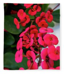 Red Flowers In Bloom Fleece Blanket