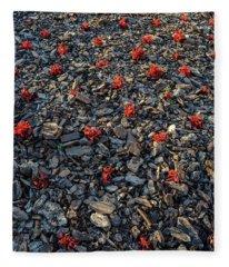 Red Flowers Over Stones Fleece Blanket
