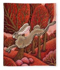 Red Forest Run Fleece Blanket