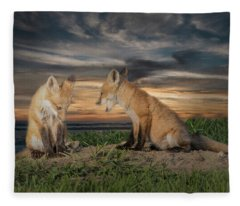 Red Fox Kits - Past Curfew Fleece Blanket